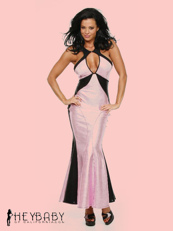 9-326 Keyhole Front Two Tone Evening Gown