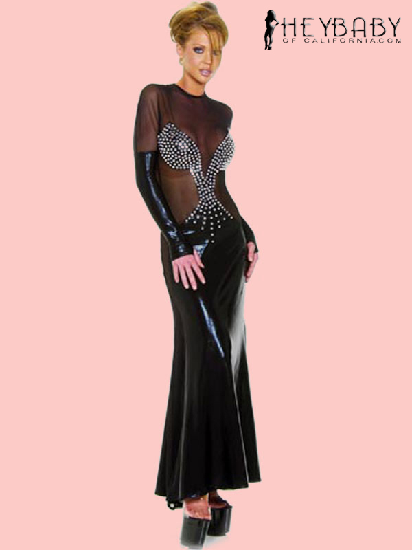 4-349 Long Rhinestone Gown