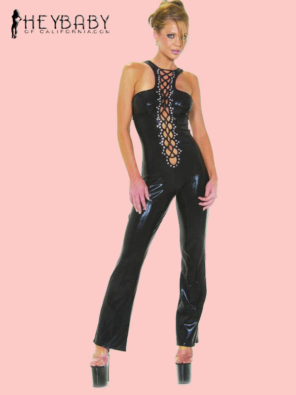 4-358 Crystal Black  Rhinestones Cat Suit