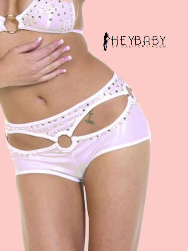 4-4 O-Ring Hot Shorts With Rhinestones