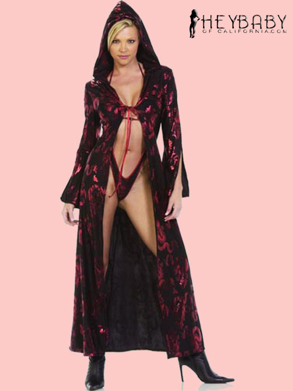 4-63 Bell Sleeve Long Robe With Hood